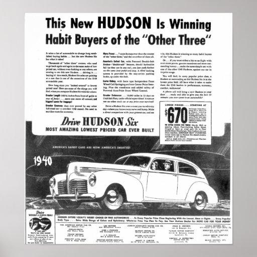 El nuevo automóvil 1940 del Hudson Póster
