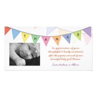 El nuevo bebé le agradece bandera Photocard del Tarjetas Fotográficas