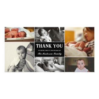 El nuevo bebé le agradece tarjeta de la foto tarjeta fotografica