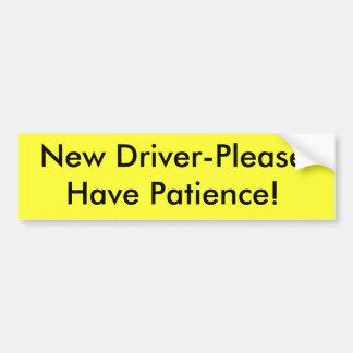 ¡El nuevo Conductor-Por favor tiene paciencia! Pegatina De Parachoque