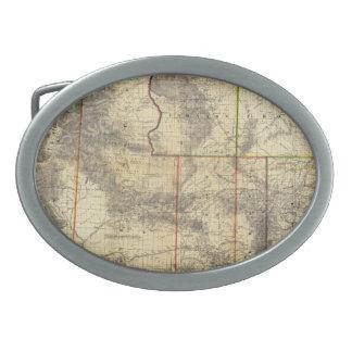 El nuevo mapa 1883 de Holt de Wyoming por el enlac Hebillas De Cinturón Ovales