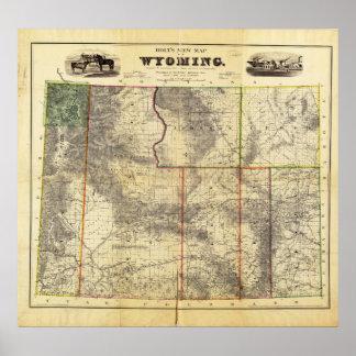 El nuevo mapa 1883 de Holt de Wyoming por el enlac Póster