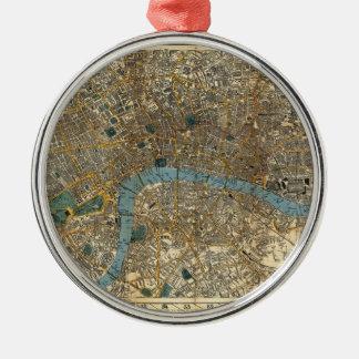 El nuevo mapa de Smith de Londres 1860 Adorno Navideño Redondo De Metal