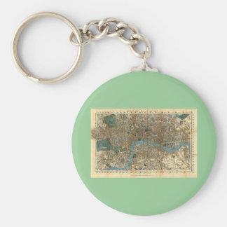 El nuevo mapa de Smith de Londres 1860 Llavero Redondo Tipo Pin