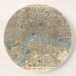 El nuevo mapa de Smith de Londres 1860 Posavasos Personalizados