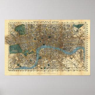 El nuevo mapa de Smith de Londres 1860 Póster