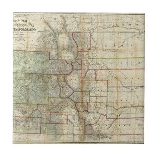 El nuevo mapa de Thayer del estado de Colorado Azulejo Cuadrado Pequeño