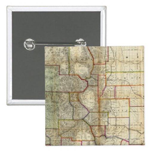 El nuevo mapa de Thayer del estado de Colorado Pin Cuadrado