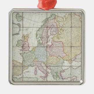 El nuevo mapa de Wallis de Europa Adorno Navideño Cuadrado De Metal