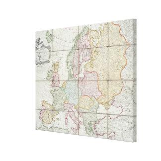 El nuevo mapa de Wallis de Europa Lienzo Envuelto Para Galerias