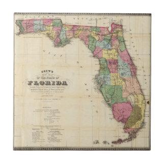 El nuevo mapa Drew's del estado de la Florida Azulejo Cuadrado Pequeño