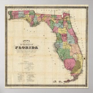 El nuevo mapa Drew's del estado de la Florida Impresiones
