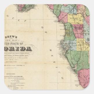 El nuevo mapa Drew's del estado de la Florida Pegatina Cuadrada