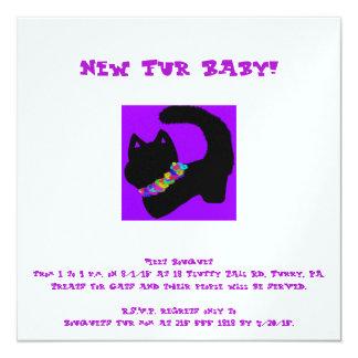 """el nuevo mascota del gato púrpura invita invitación 5.25"""" x 5.25"""""""