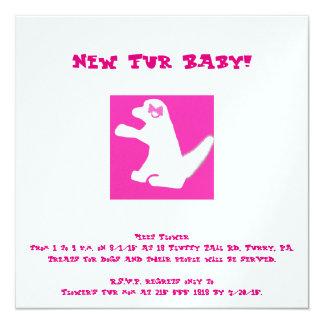 """el nuevo mascota del perro rosado invita invitación 5.25"""" x 5.25"""""""