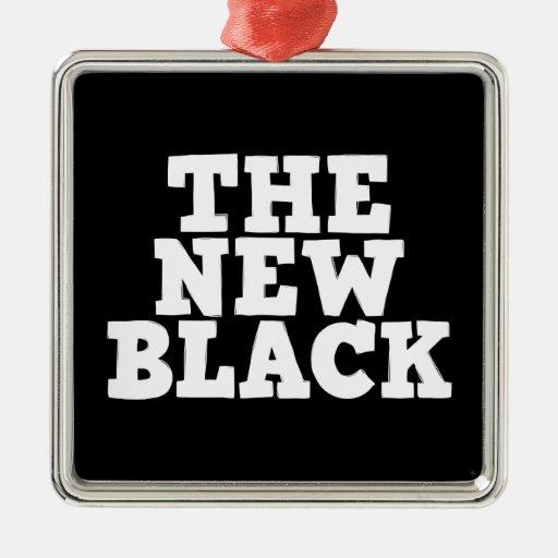 El nuevo ornamento negro adorno cuadrado plateado