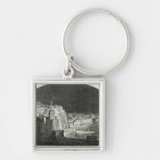 El nuevo panorama de Burford de Nápoles por claro  Llavero Cuadrado Plateado