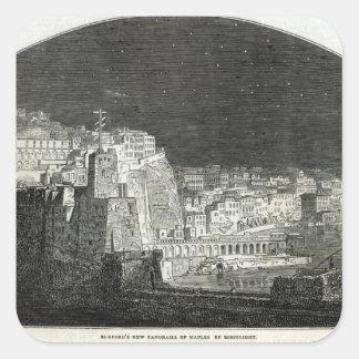 El nuevo panorama de Burford de Nápoles por claro Pegatina Cuadrada
