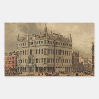 El nuevo templo masónico - Boston (1855) Rectangular Pegatina