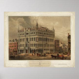 El nuevo templo masónico - Boston (1855) Póster
