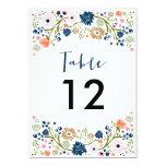 El número bonito de la tabla del boda del ramo invitacion personalizada