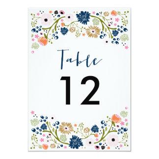 """El número bonito de la tabla del boda del ramo invitación 5"""" x 7"""""""