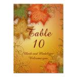 El número de la tabla carda el boda del otoño invitación personalizada