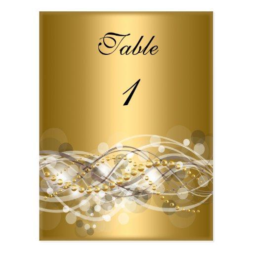 El número de la tabla carda el oro blanco tarjetas postales