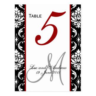 El número de la tabla carda rojo del damasco postal