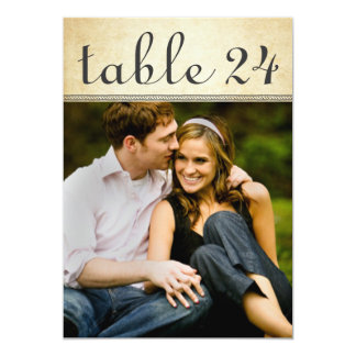 El número de la tabla de la foto del boda carda el invitación 12,7 x 17,8 cm
