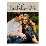 El número de la tabla de la foto del boda carda la postales