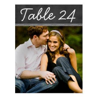 El número de la tabla de la foto del boda carda la