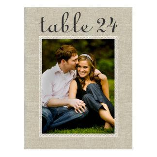 El número de la tabla de la foto del boda carda la postal