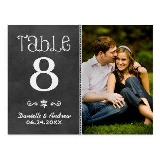 El número de la tabla de la foto del boda carda la tarjetas postales