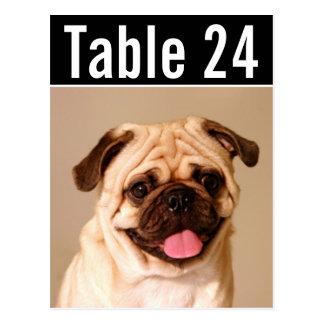 El número de la tabla de la foto del mascota carda postales