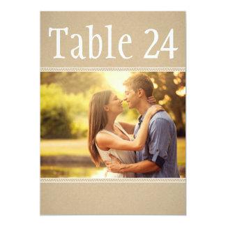 El número de la tabla de la foto del paisaje carda invitación 12,7 x 17,8 cm