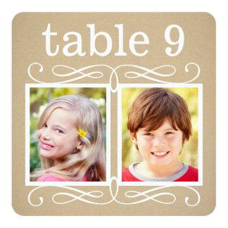 El número de la tabla del boda carda a la novia invitación 13,3 cm x 13,3cm