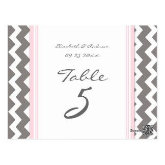 El número de la tabla del boda carda Chevron rosad Tarjeta Postal