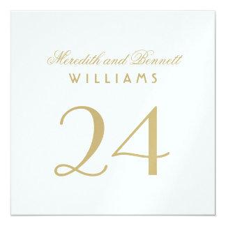 El número de la tabla del boda carda el   blanco y invitación 13,3 cm x 13,3cm