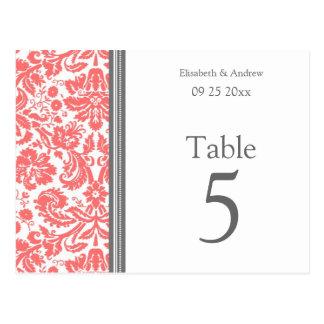 El número de la tabla del boda carda el coral gris tarjetas postales