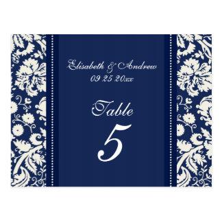 El número de la tabla del boda carda el damasco az tarjetas postales