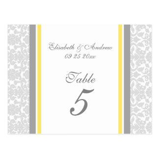 El número de la tabla del boda carda el damasco de tarjetas postales