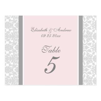 El número de la tabla del boda carda el damasco gr tarjetas postales