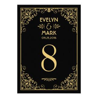 El número de la tabla del boda carda estilo del ar comunicado personal