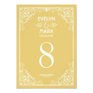 El número de la tabla del boda carda estilo del invitaciones personalizada