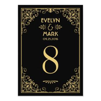 """El número de la tabla del boda carda estilo del invitación 5"""" x 7"""""""
