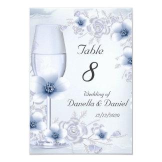 """El número de la tabla del boda florece los rosas invitación 3.5"""" x 5"""""""