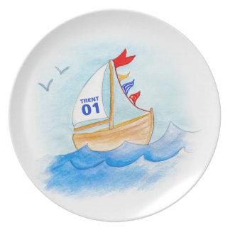 El número del nombre del arte del barco de navegac plato de cena