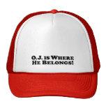 El O.J. es donde él pertenece - básico Gorro De Camionero