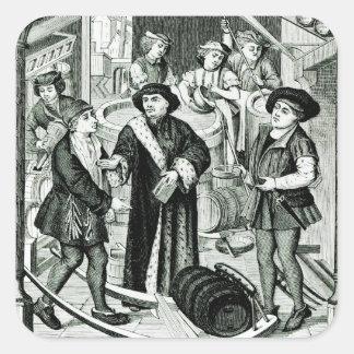 El obispo de Tournai que recibe el diezmo de la Pegatina Cuadrada